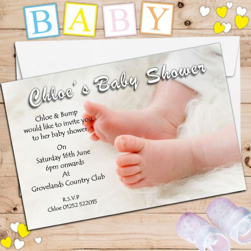 10 Personalised Boy Girl Unisex Baby Shower Party Invitations N9